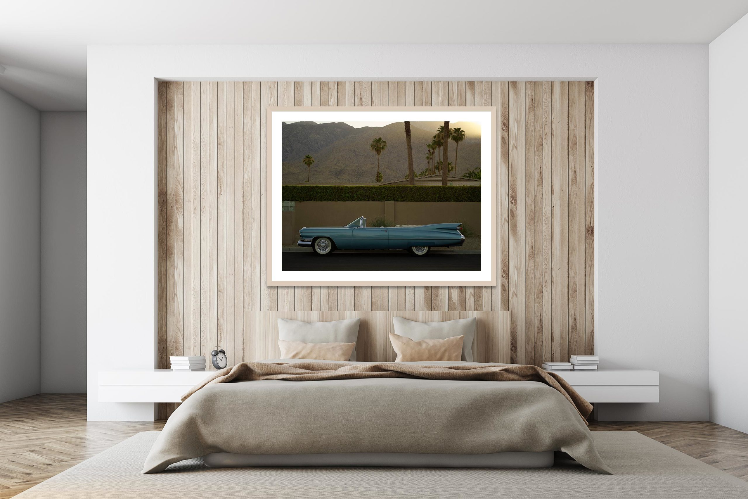 Sky Blue Cadillac - Timber Frame - I Heart Palm Springs Collection - Fine Art Photography by Toby Dixon