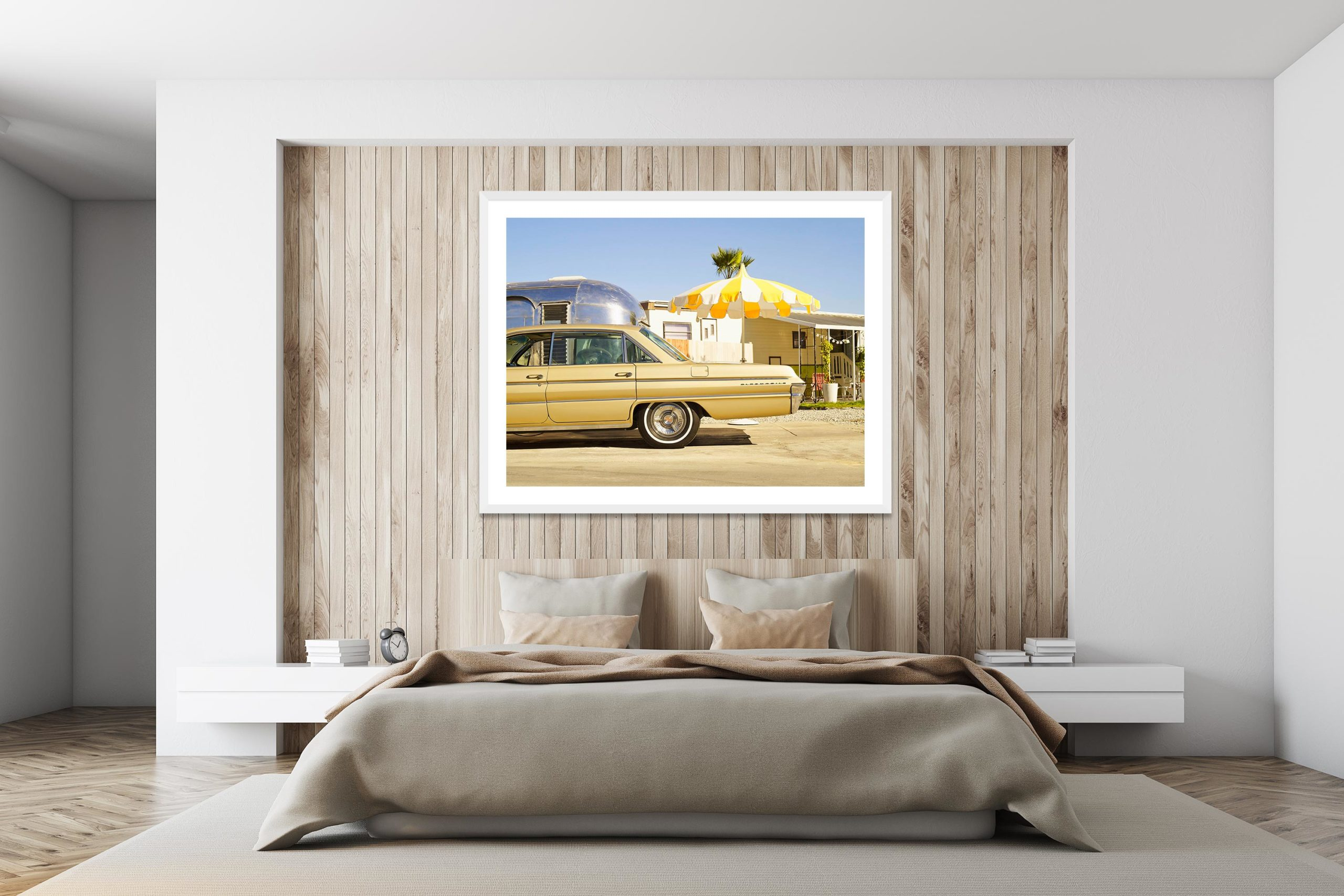 Oldsmobile In The Trailer Park - White Frame - I Heart Palm Springs Collection - Fine Art Photography by Toby Dixon