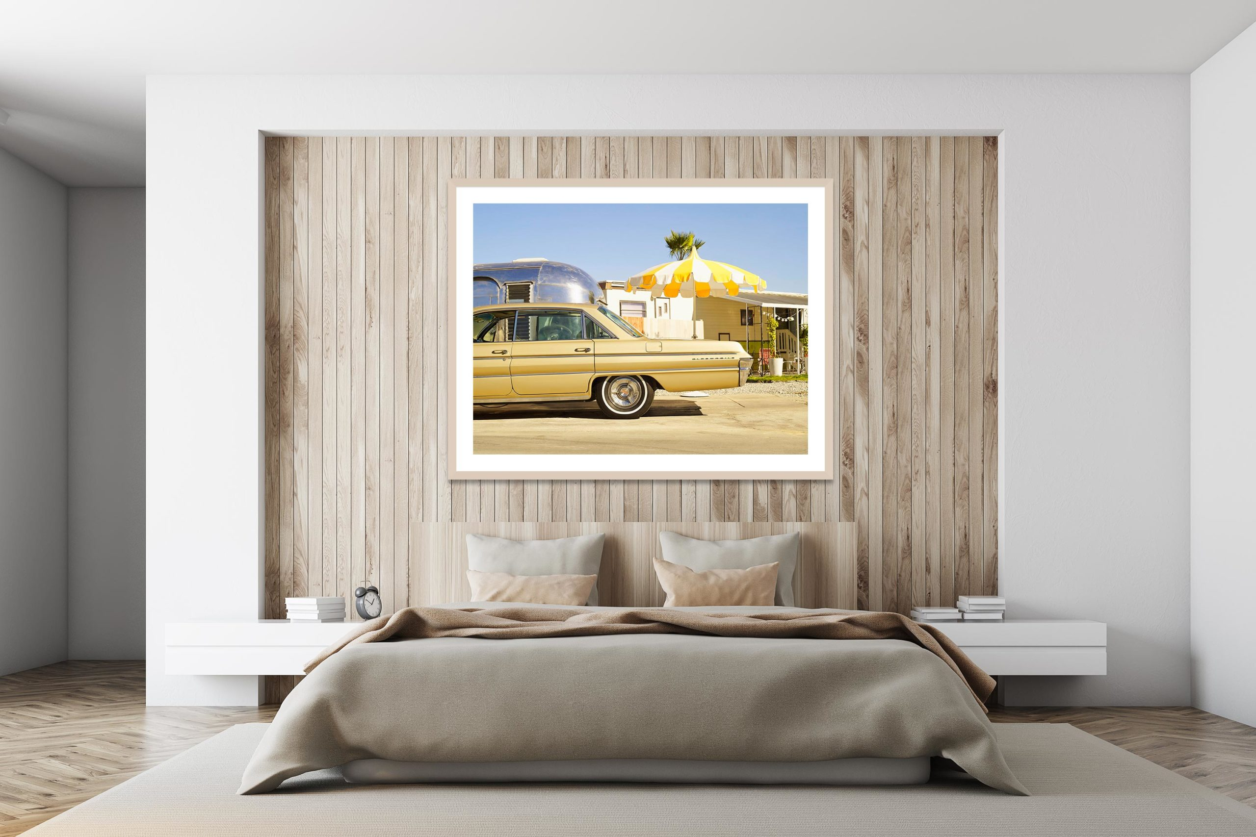 Oldsmobile In The Trailer Park - Timber Frame - I Heart Palm Springs Collection - Fine Art Photography by Toby Dixon