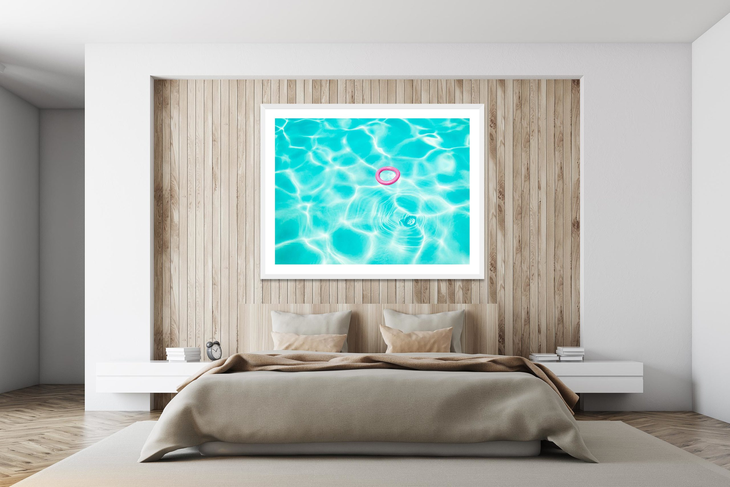 Pink In Blue - White Frame - I Heart Palm Springs Collection - Fine Art Photography by Toby Dixon