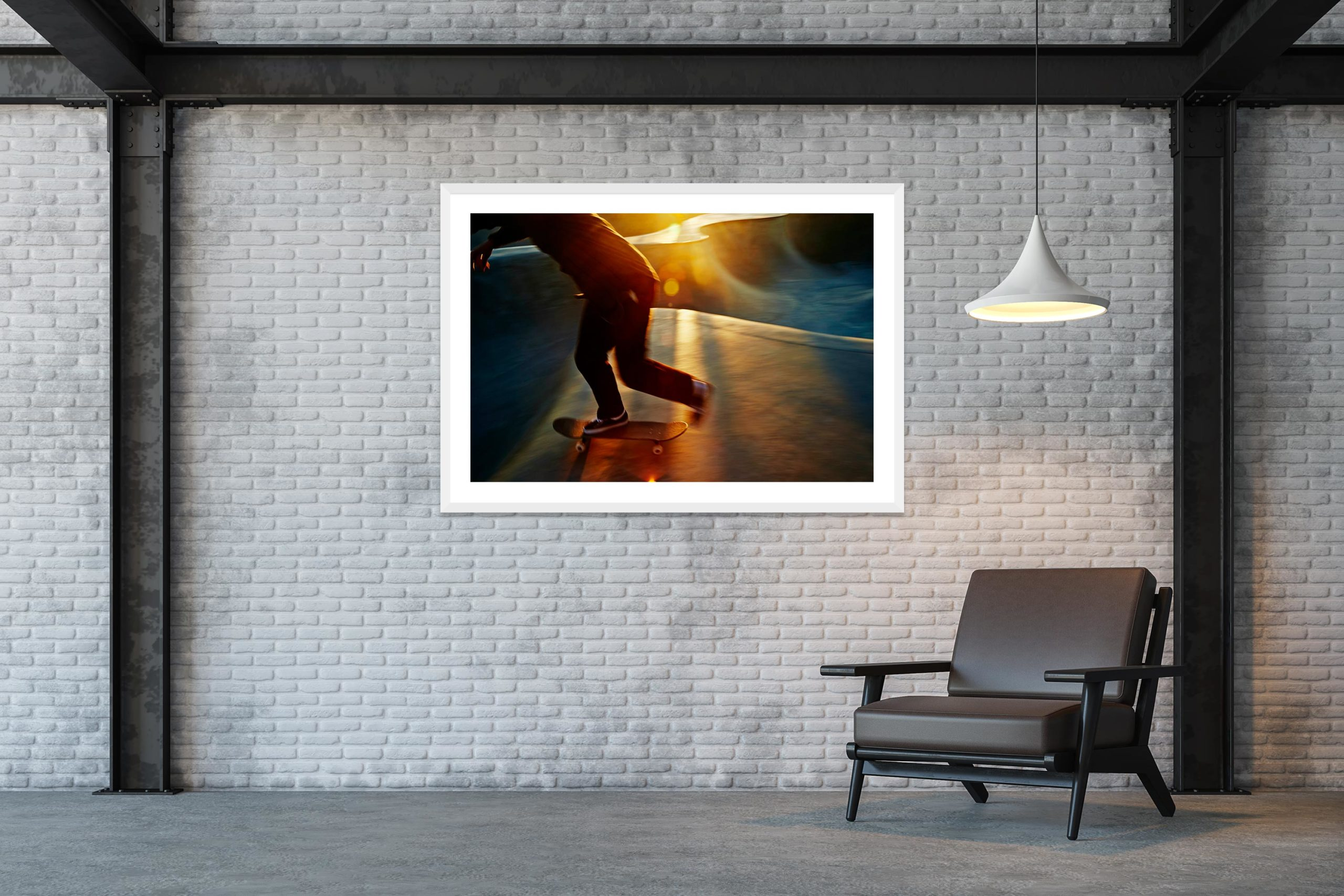 Golden Blur - White Frame - Skate Park, Venice Beach Collection - Fine Art Photography by Toby Dixon