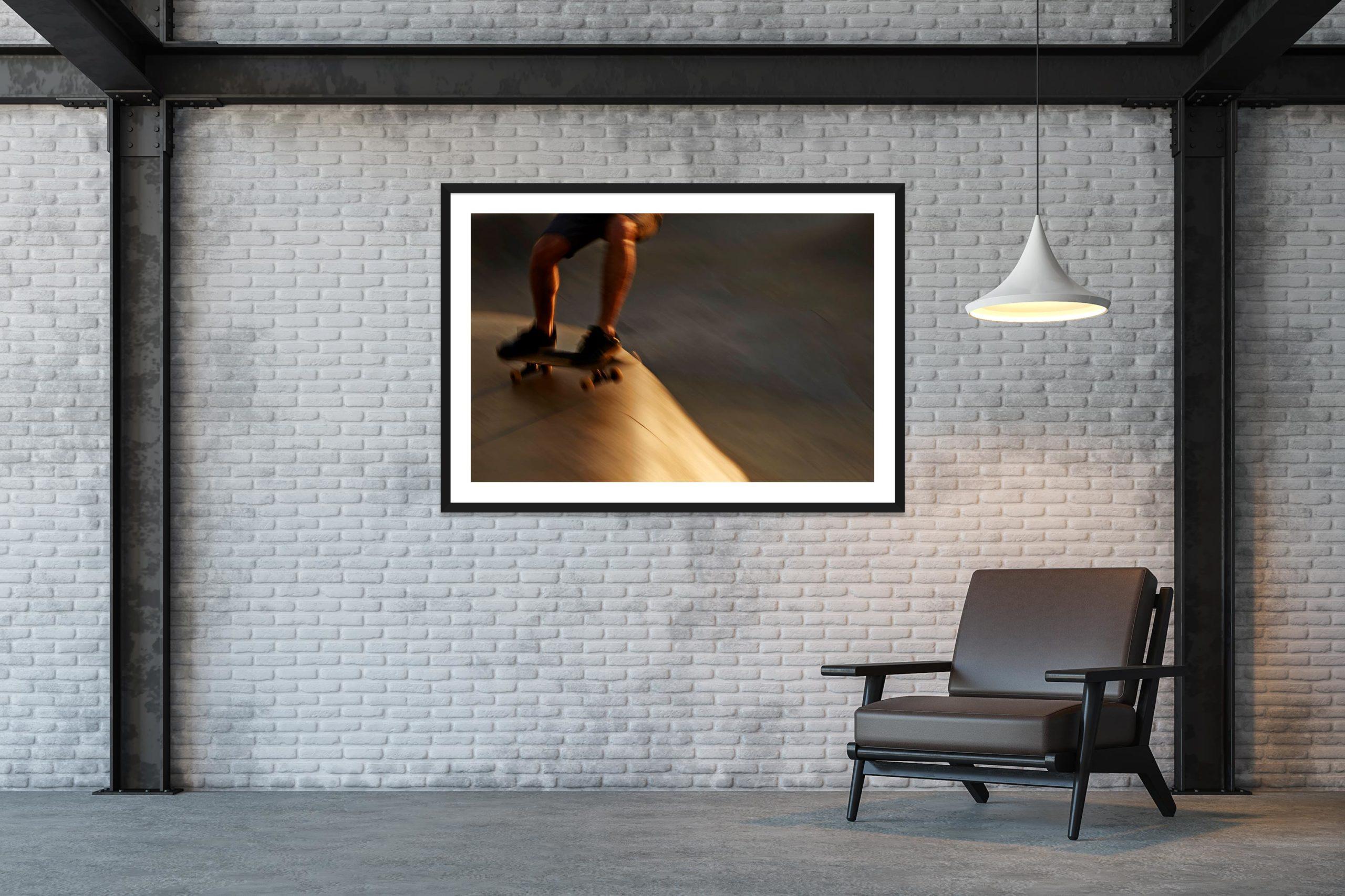 Golden Blur 2 - Black Frame - Skate Park, Venice Beach Collection - Fine Art Photography by Toby Dixon
