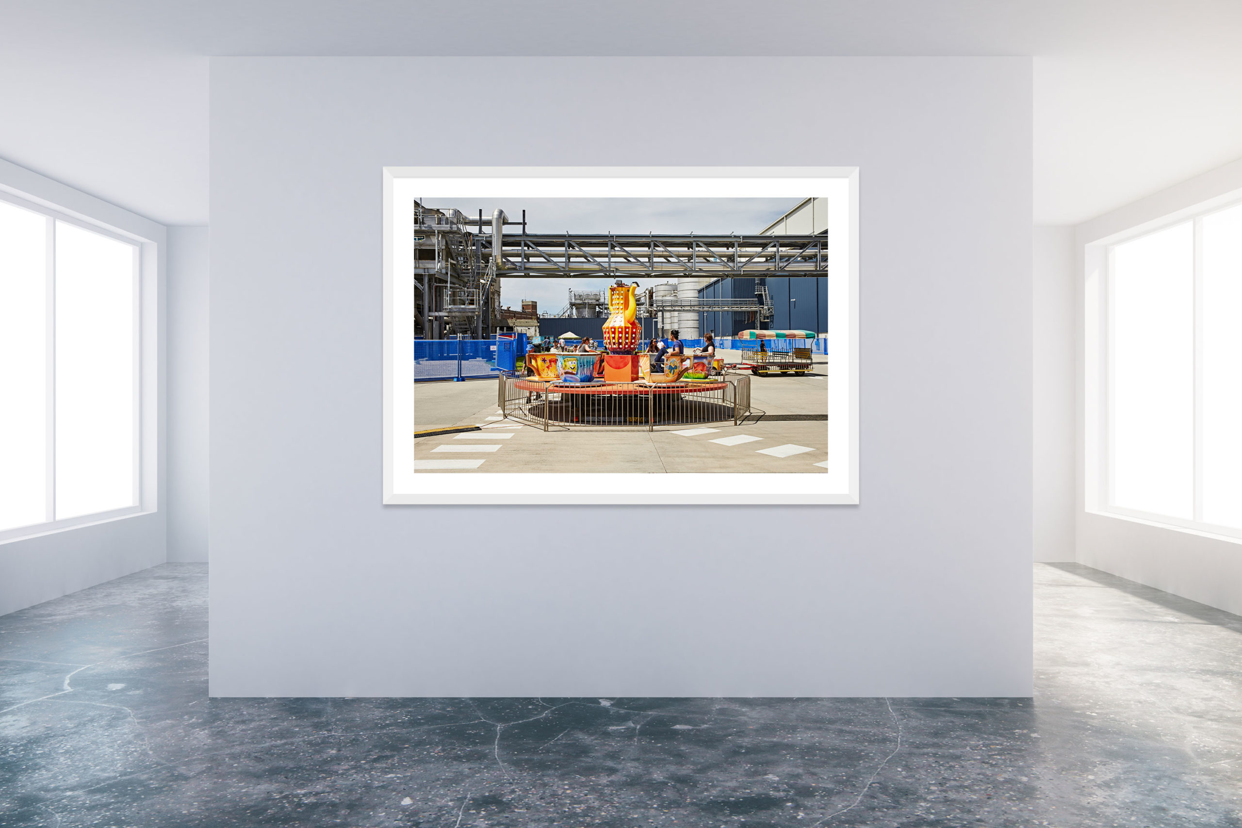 Family Day At The Factory 1 - White Frame - Carnival Collection - Fine Art Photography by Toby Dixon
