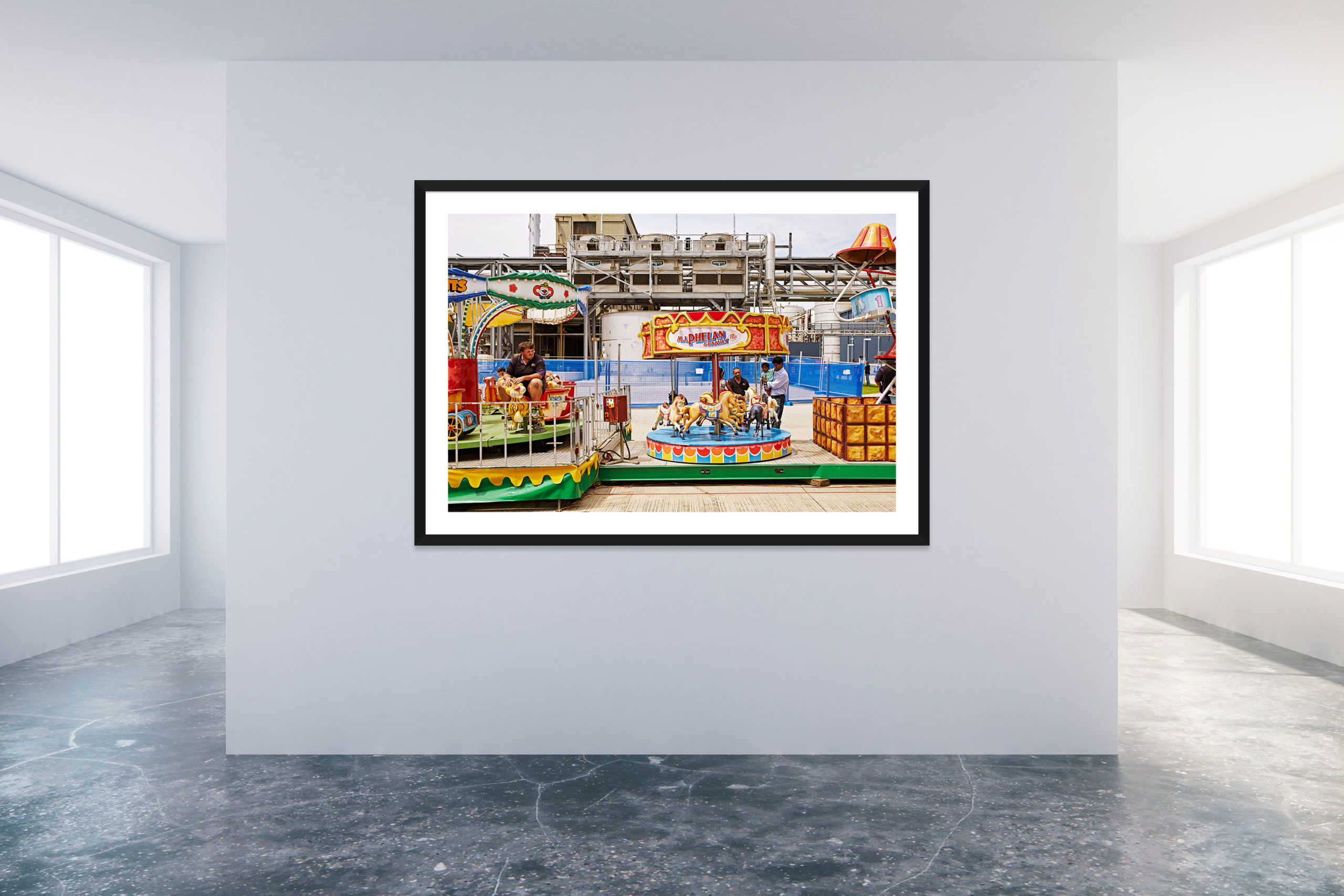 Family Day At The Factory 2 - Black Frame - Carnival Collection - Fine Art Photography by Toby Dixon