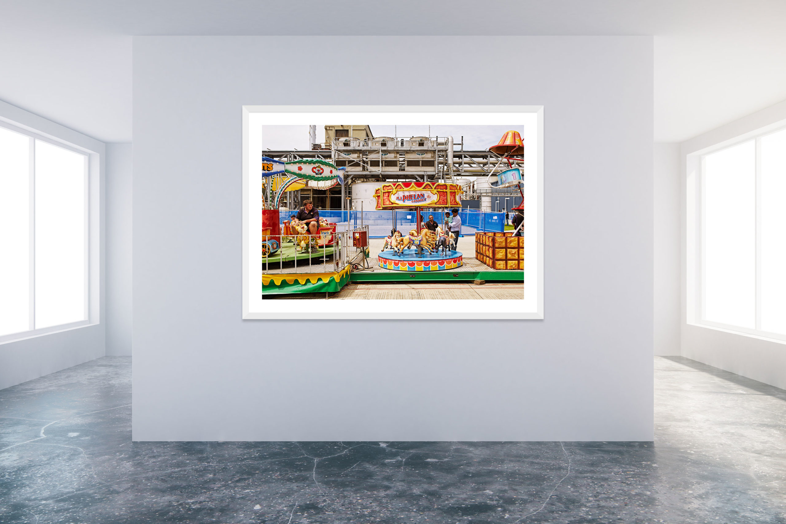 Family Day At The Factory 2 - White Frame - Carnival Collection - Fine Art Photography by Toby Dixon
