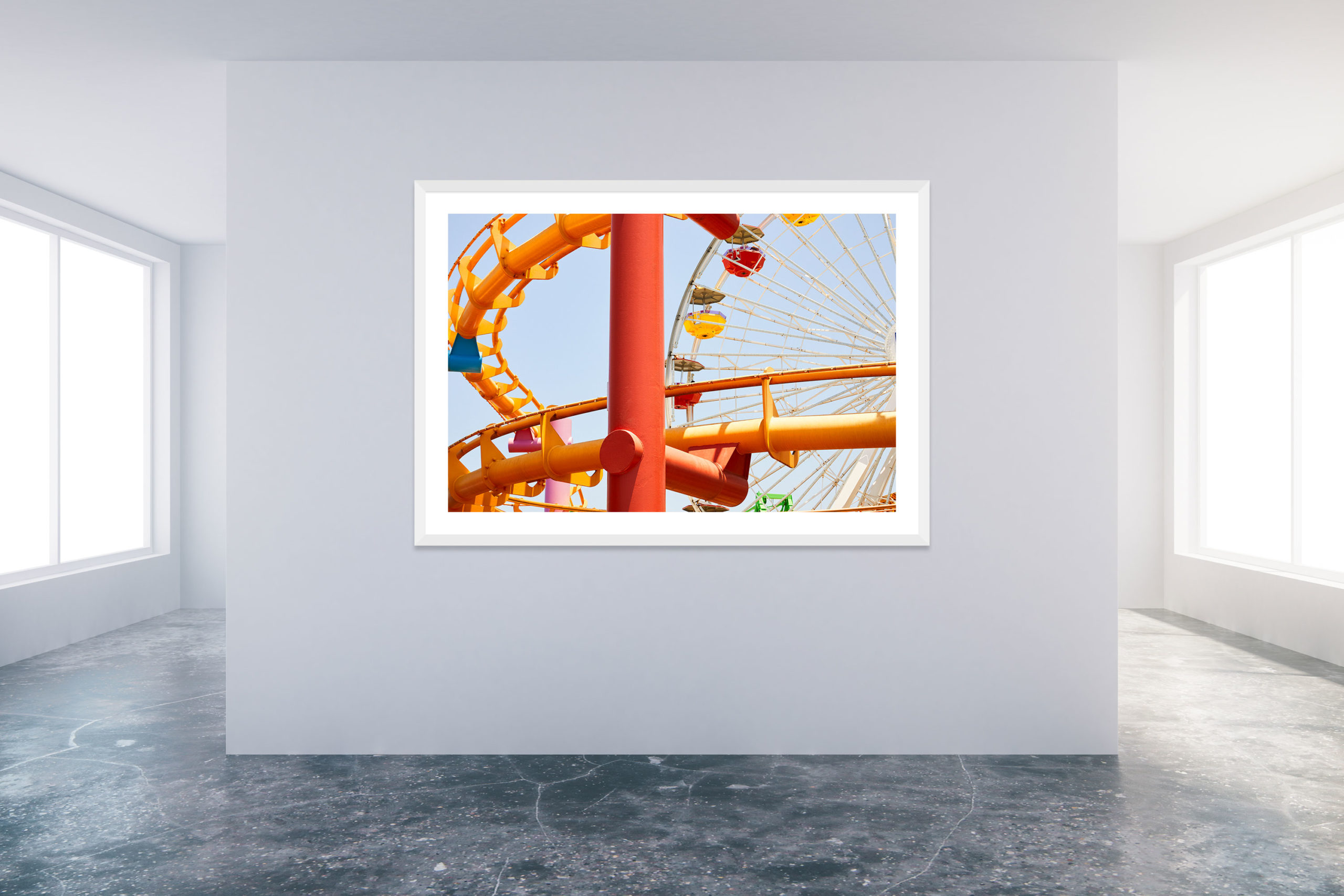 Santa Monica Pier 1 - White Frame - Carnival Collection - Fine Art Photography by Toby Dixon