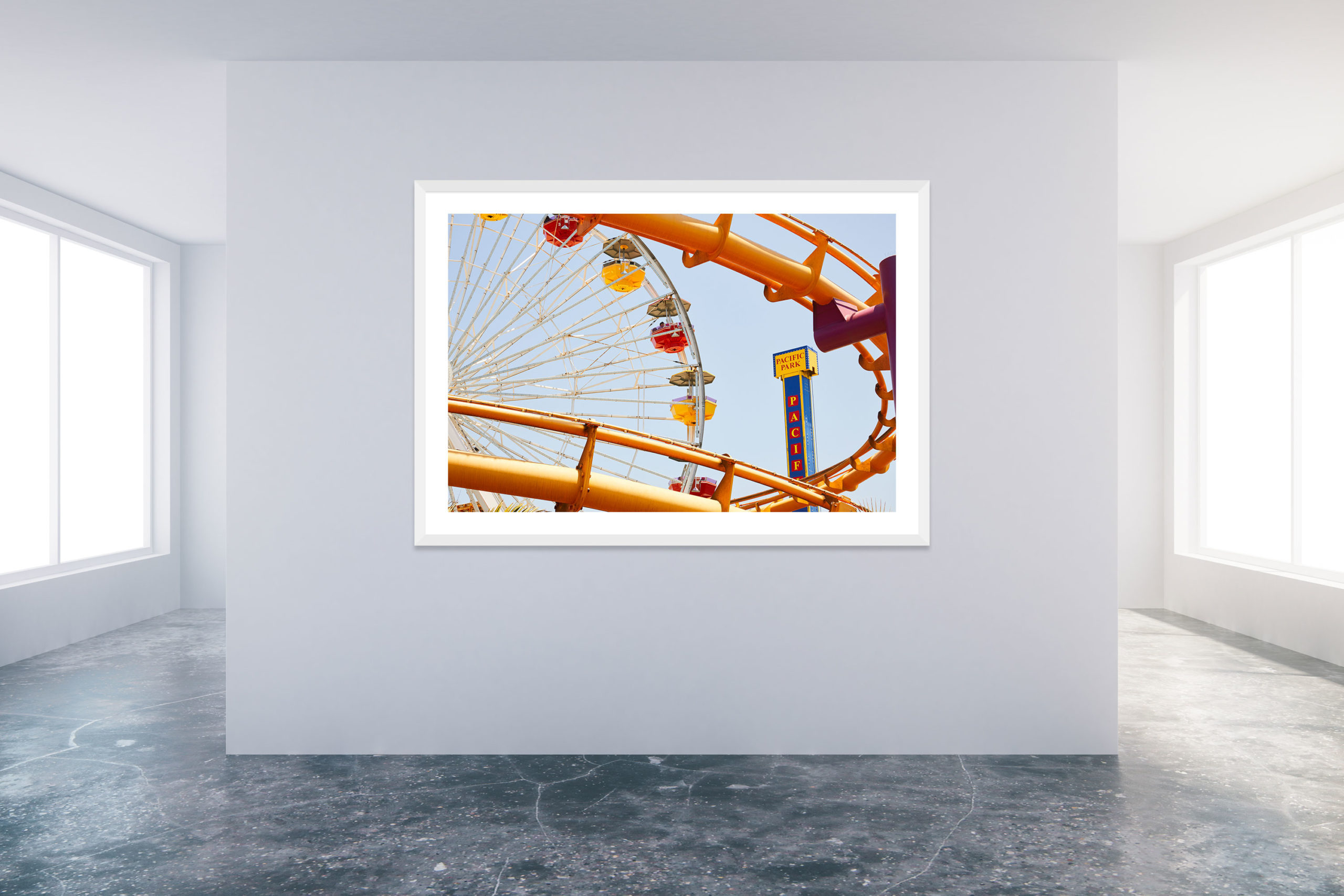 Santa Monica Pier 2 - White Frame - Carnival Collection - Fine Art Photography by Toby Dixon