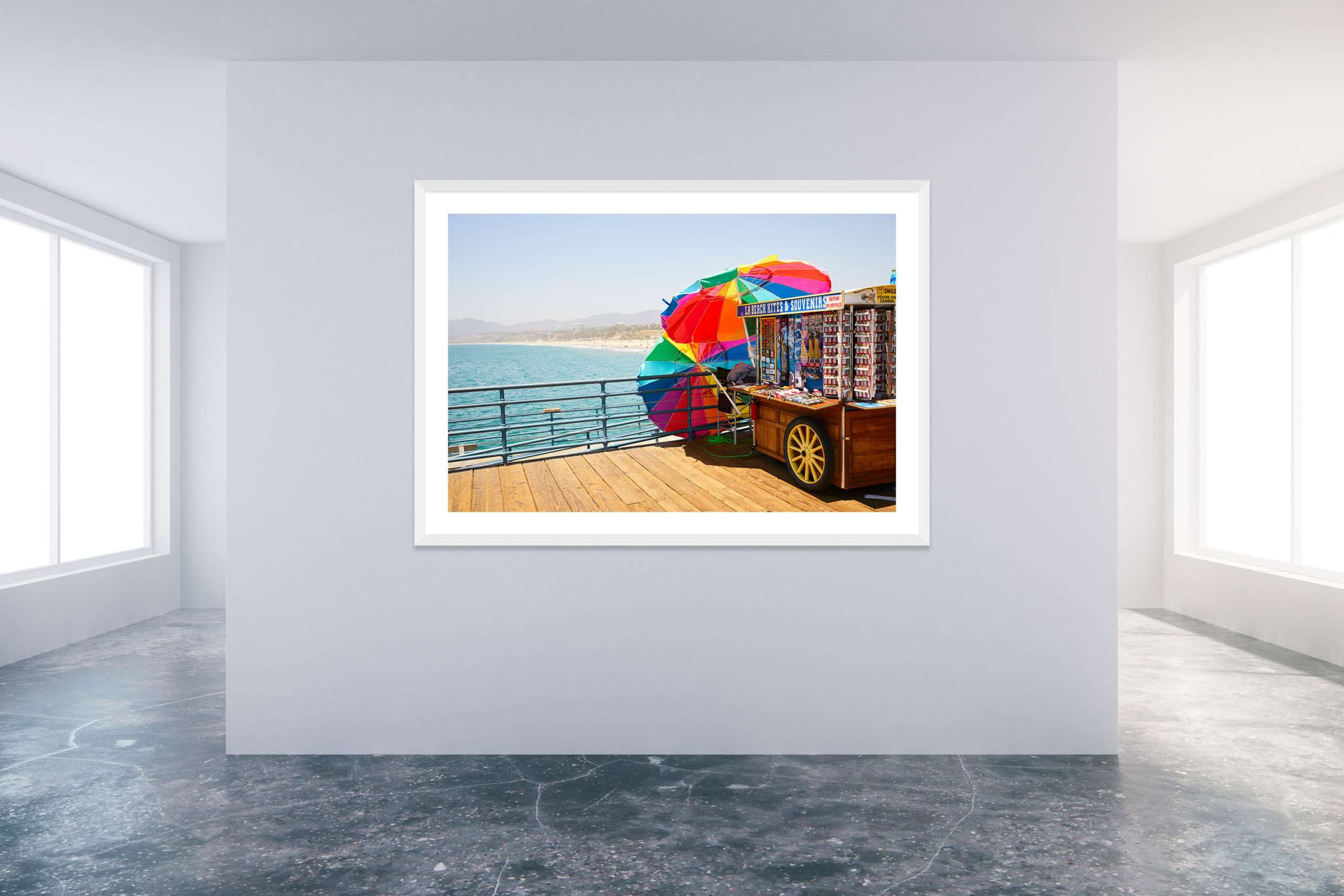 Santa Monica Pier 4 - White Frame - Carnival Collection - Fine Art Photography by Toby Dixon